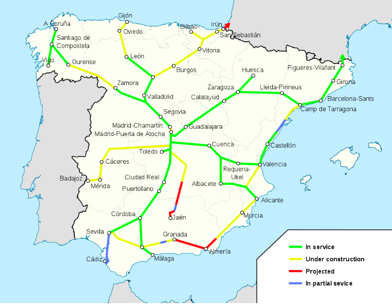 AVE Spain Map Jan. 2018