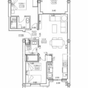 2 bedrooms apartment's layout