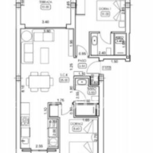 Layout for 2 bedrooms model ground floor