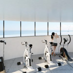 GYM. Located on island in a adults swimming pool